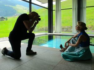 Shooting der neuen Kollektion von Juli von CS am Pool